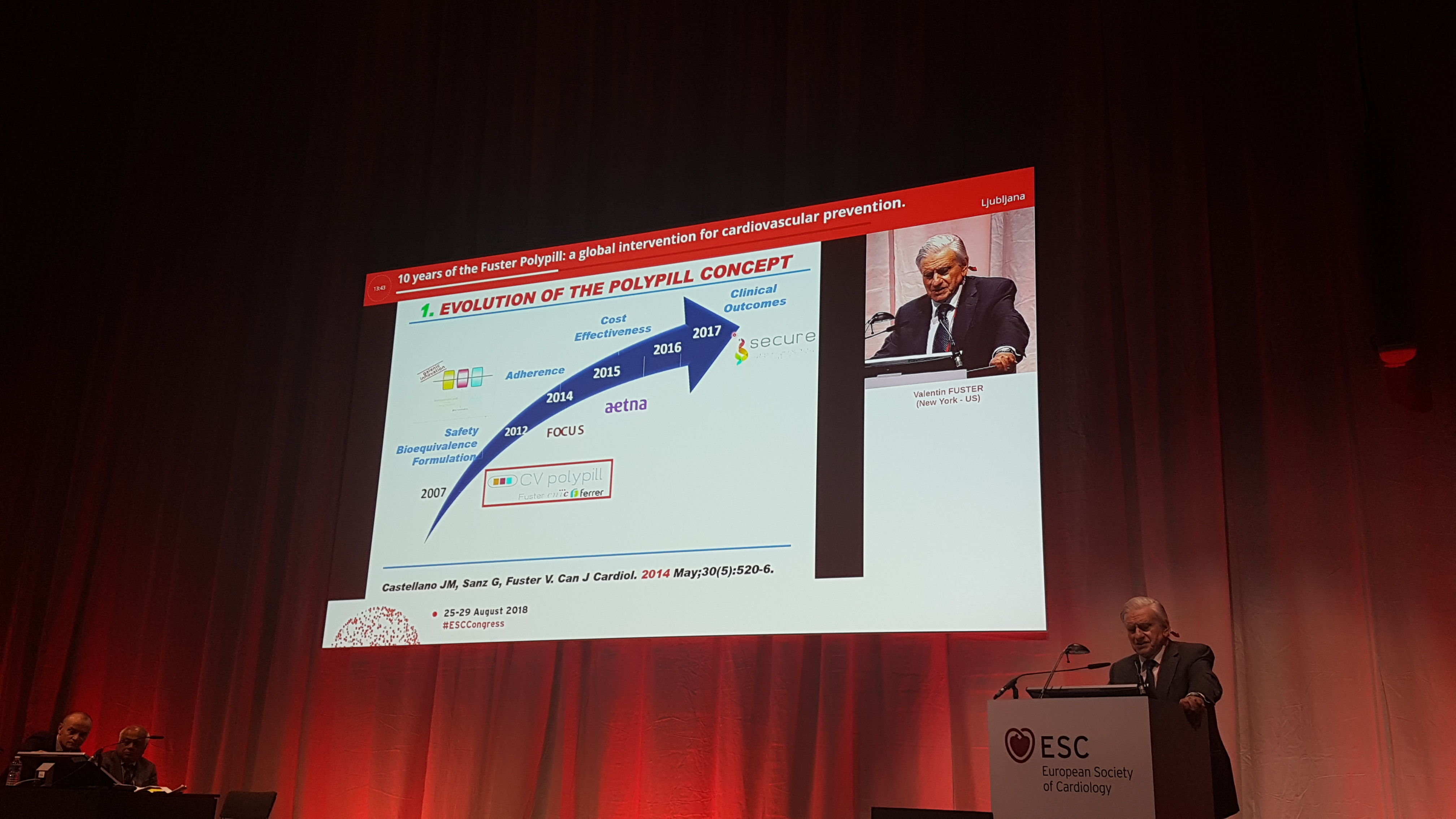 Dr. Fuster at the SECURE Symposium at the ESC Congress 2018 in Munich